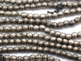 Silver Irregular Bicone Metal Beads 8mm - Ethiopia (ME5724)