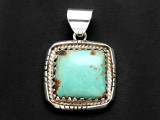 Sterling Silver & Turquoise Pendant 30mm (AP2252)