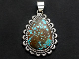 Sterling Silver & Turquoise Pendant 45mm (AP2254)