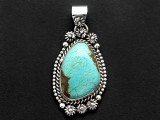 Sterling Silver & Turquoise Pendant 43mm (AP2255)