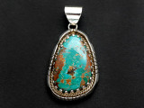 Sterling Silver & Turquoise Pendant 42mm (AP2257)