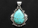 Sterling Silver & Turquoise Pendant 42mm (AP2258)