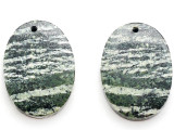 Green Silver Line Jasper Gemstone Earring Pair 25mm (GSP3463)