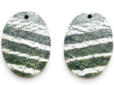 Green Silver Line Jasper Gemstone Earring Pair 25mm (GSP3465)
