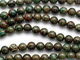 Green & Brown Tibetan Agate Round Gemstone Beads 10mm (GS5213)