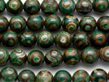 Green & Brown Tibetan Agate Round Gemstone Beads 12mm (GS5217)