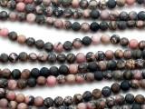 Matte Rhodonite Round Gemstone Beads 6mm (GS5219)