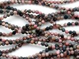 Matte Rhodonite Round Gemstone Beads 4mm (GS5221)