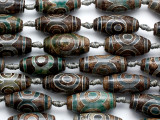 Brown & Green Tibetan Agate Barrel Gemstone Beads 28-30mm (GS5226)