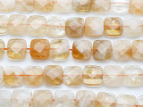 Citrine Faceted Square Gemstone Beads 14mm (GS5227)