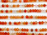 Carnelian Faceted Rondelle Gemstone Beads 4mm (GS5230)
