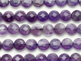 Amethyst Faceted Round Tabular Gemstone Beads 10mm (GS5234)