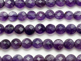 Amethyst Faceted Round Tabular Gemstone Beads 9mm (GS5237)