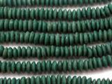 Pine Green Saucer Sandcast Glass Beads 12-14mm (SC995)