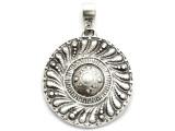 Ornate Circle Medallion Metal Pendant 50mm (AP2276)