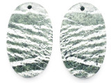 Green Silver Line Jasper Gemstone Earring Pair 30mm (GSP3552)