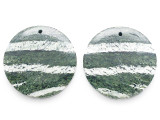 Green Silver Line Jasper Gemstone Earring Pair 30mm (GSP3559)