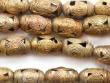 Ornate Brass Barrel Beads 22-24mm - Ghana (ME5725)