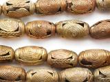 Ornate Brass Barrel Beads 26-30mm - Ghana (ME5726)