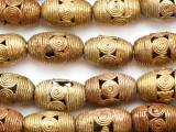 Ornate Brass Barrel Beads 23-27mm - Ghana (ME5727)
