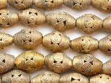 Ornate Brass Ellipsoid Beads 20-22mm - Ghana (ME5730)