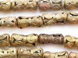 Ornate Brass Spirals Cylinder Beads 25-28mm - Ghana (ME5732)