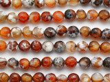 Brown & White Crackle Agate Faceted Round Gemstone Beads 8mm (GS5111)