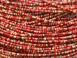 Red, Yellow & Black Vinyl Disc Beads 3mm (VY265)