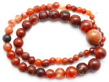 Carnelian Graduated Round Beads 8-28mm - Mali (AT7319)