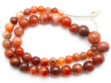 Carnelian Graduated Round Beads 10-20mm - Mali (AT7322)