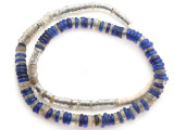 Cobalt Blue & Clear Dogon Glass Trade Beads 8-16mm (AT7329)