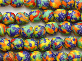 Multi-Color Round Krobo Glass Trade Beads 12-14mm - Ghana (AT7327)