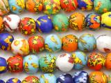 Assorted Multi-Color Krobo Glass Trade Beads 12-14mm - Ghana (AT7328)