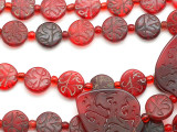 Old Arabic Red Glass Prayer Beads - 3 medallions(AT7333)