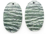 Silver Line Jasper Gemstone Earring Pair 30mm (GSP3673)
