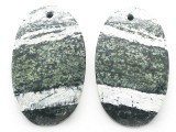 Silver Line Jasper Gemstone Earring Pair 30mm (GSP3677)