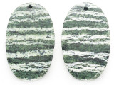 Silver Line Jasper Gemstone Earring Pair 30mm (GSP3678)