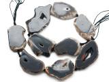 Black Agate Slab Gemstone Beads 41-54mm (AS1068)