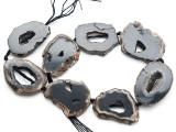 Black Agate Slab Gemstone Beads 40-45mm (AS1070)