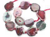 Pink Agate Slab Gemstone Beads 30-32mm (AS1073)