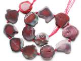 Pink Agate Slab Gemstone Beads 22-34mm (AS1074)