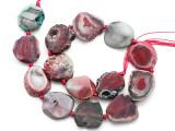 Pink Agate Slab Gemstone Beads 26-30mm (AS1075)