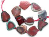 Pink Agate Slab Gemstone Beads 29-37mm (AS1077)