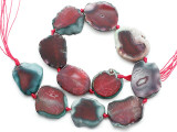 Pink Agate Slab Gemstone Beads 30-37mm (AS1078)