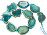 Teal Green Agate Slab Gemstone Beads 38-42mm (AS1079)