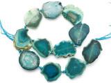 Teal Green Agate Slab Gemstone Beads 33-37mm (AS1080)