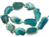 Teal Green Agate Slab Gemstone Beads 30-42mm (AS1081)