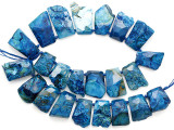 Blue Agate Slab Gemstone Beads 27-42mm (AS1084)