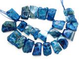 Blue Agate Slab Gemstone Beads 26-43mm (AS1085)