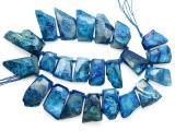 Blue Agate Slab Gemstone Beads 25-52mm (AS1086)